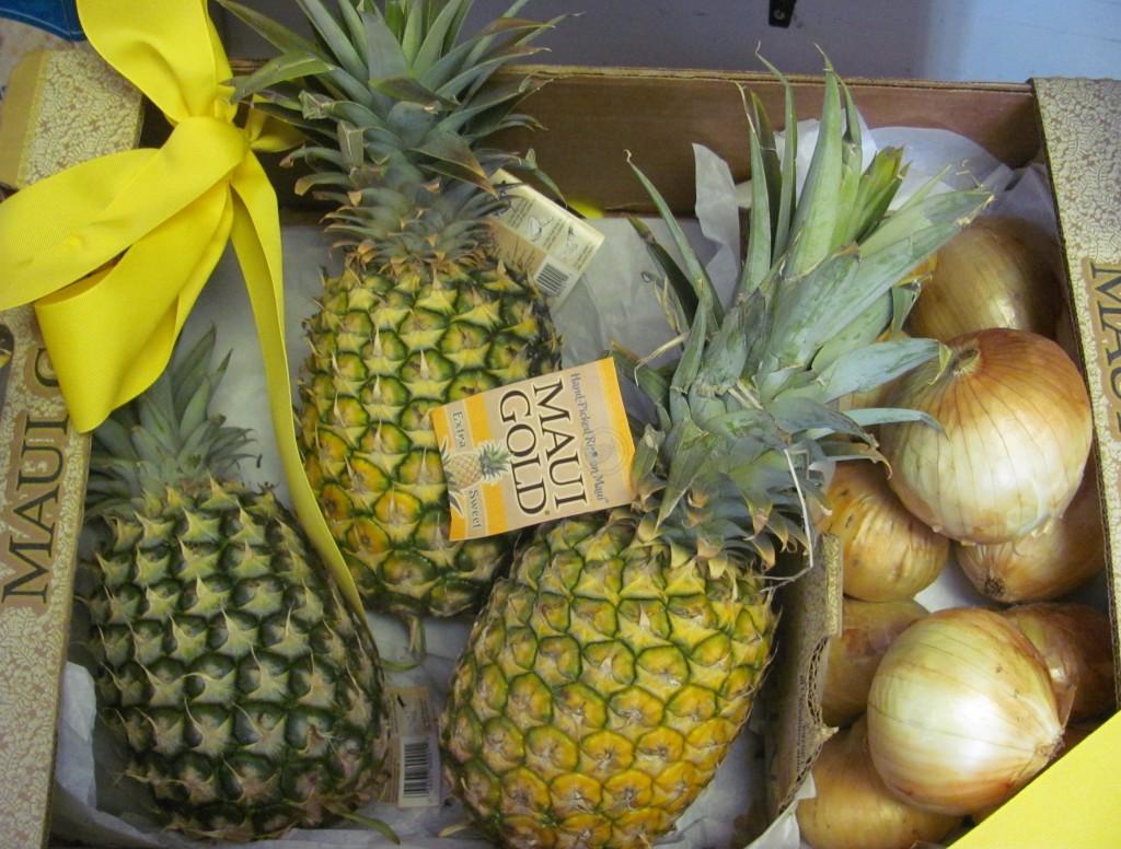 3 Maui Gold Pineapples, and 5 lbs. Sweet Maui Onion