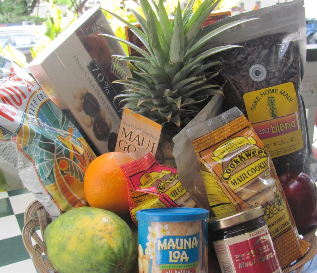 Locally delivered deluxe island fruit and gift basket